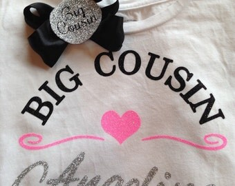 Personalized Real Glitter Big Cousin Shirt with Matching Hair Clip - More Glitter Colors Available