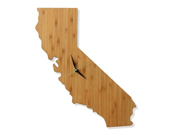 California Shaped Bamboo Wall Clock. Perfect for home, office or gift.