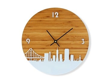 San Francisco Skyline Bamboo Clock