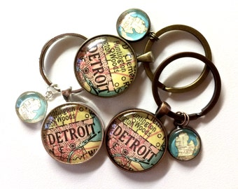 READY TO SHIP Detroit Michigan Key Chain Set Your Choice of Finish