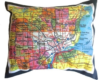 Metro Detroit Map Pillow Cover with Insert Bright