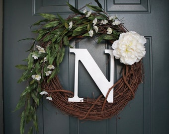 """18"""" Grapevine Wreath, Spring/Summer Wreath, white flowers and greenery, with or without initial"""