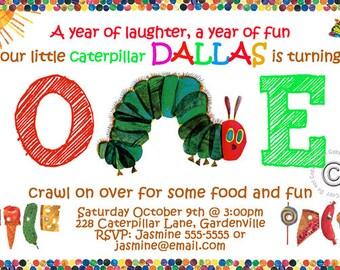 Hungry Caterpillar Birthday Party Invitation - Hungry Caterpillar Birthday Party Invite