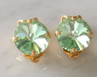 Chrysolite Crystal Clip On Earrings,  Crystal Clip On Earrings, Swarovski Chrysolite Crystal Clip On Earrings, Light Green Crystal Clip On