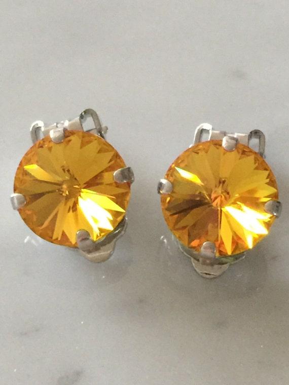 Swarovski Sunflower Crystal Clip On Earrings,  Crystal Clip On Earrings,  Yellow Crystal Clip On Earrings