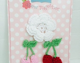 Crocheted Flowers with Cherries