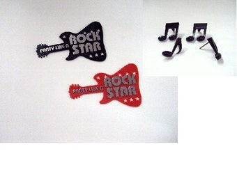 Rock Star Guitar Cake Layon with Music Note Picks