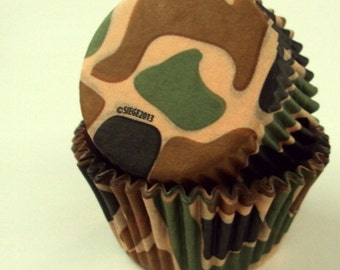 32 Camouflage Baking Cups