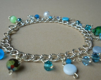 "Glass and Crystal Charm Bracelet - ""Charms of the Sea"""