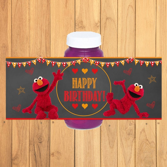 Elmo Bubble Wrapper Label Chalkboard * Elmo Bubble Label Birthday * Elmo Favors *Elmo Party