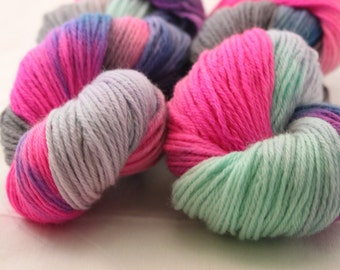 Hand Dyed Worsted Weight Peruvian Highland Wool Yarn -  Aqua, Pink, Blue, Gray, and Purple multi