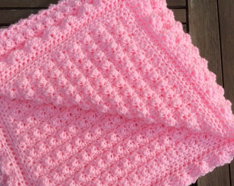 Crochet baby girl  blanket soft bobbles ready to ship