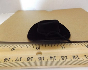 "Dollhouse Miniature Flocked 2"" Black Western Cowboy Hat Doll not included"