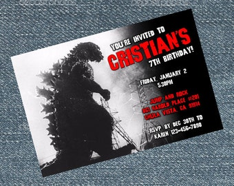 Godzilla Invitations - birthday party invites