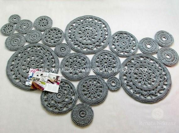 Crochet Round Rug : Crochet rug, crochet carpet, round rug, knitted carpet, knitted rug ...