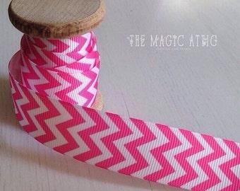Pink chevron ribbon by the metre
