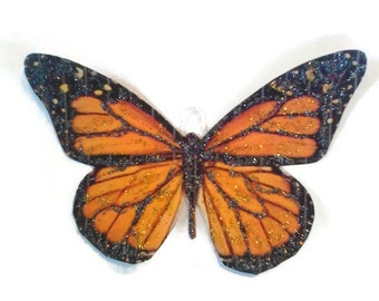Butterfly Monarch Ornaments Decorations, Vintage Imagery Black Glitter Sparkles, Garden Woodland Meadow Moth Recycled OOAK Ephemera Handmade
