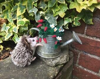 Needle felted hedgehog , ooak sculpture , strawberry thief!