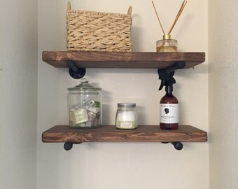 Set of two Industrial shelves, industrial pipe shelf, pipe furniture