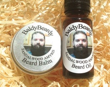 Sandalwood Amyris beard oil and balm combination pack. A woody scented hydrating, moisturising beard care, grooming conditioning taming kit