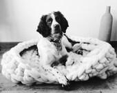 Knitted Dog Bed, Luxury Super Chunky Dog Blanket, Giant Pure Merino Yarn Dog Mat, Small, Medium, Large Dog Bed, Extreme Knitting.