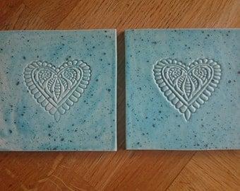 Heart print Ceramic coasters
