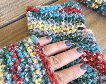 Multicolored Southwestern Fingerless Gloves, Crochet Fingerless Gloves, Fingerless Mittens, Boho Fingerless Gloves, Chunky Texting Gloves