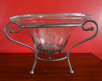 Mexican Hand Blown Glass Bowl in an Wrought Iron Stand