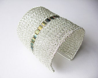 Silver wire crochet cuff bracelet, beaded with a clasp, handmade from non-tarnish silver plated copper wire and matt green iris Tila beads