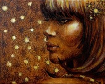 Flower Child- Original Oil Gold Leaf Painting