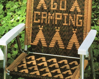 Lets Go Camping Macrame Lawn Chair Folding Chair Macrame Pattern 1970s Let's Go Camping Tent Chair Macrame Pattern  PDF Instant Download