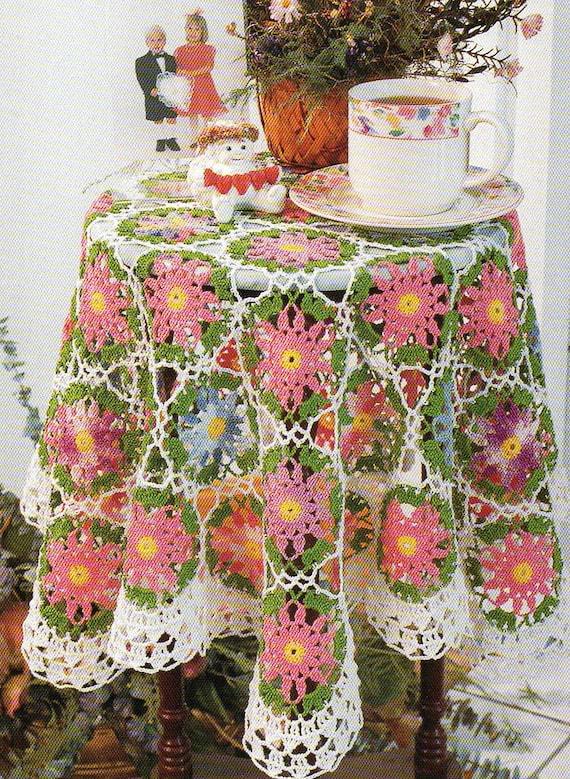 Vintage Cotton Tablecloth Crochet Pattern Flower Motifs