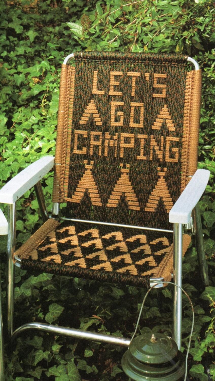 Lets Go Camping Macrame Lawn Chair Folding Chair Macrame
