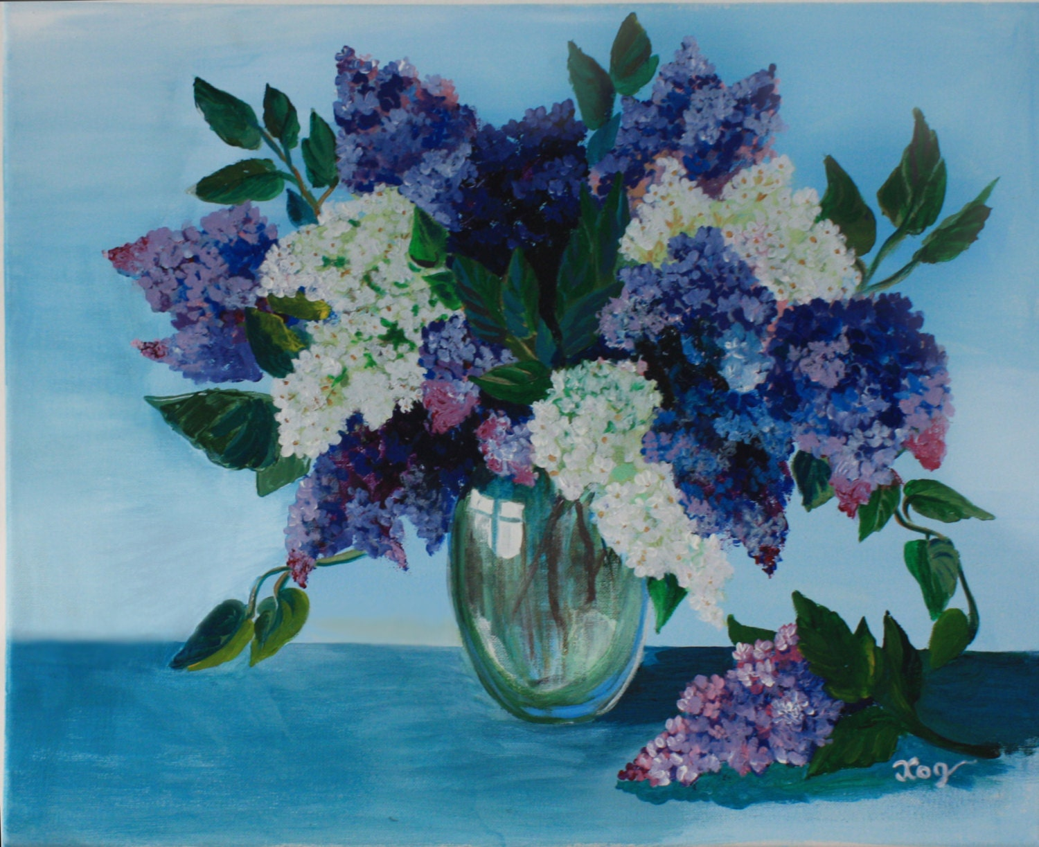 acrylic painting canvas art flower lilac wall home decorations