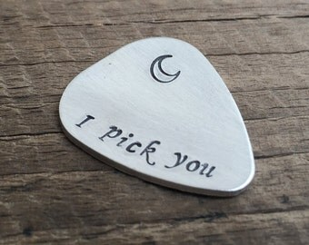 I pick you to the moon & back, Moon guitar pick for her, guitar pick for girlfriend Gift, Personalized guitar pick, Silver guitar pick her