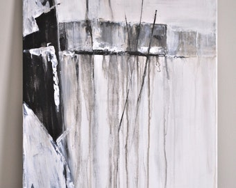 Black and White Modern Art | Original Abstract on Canvas Painting