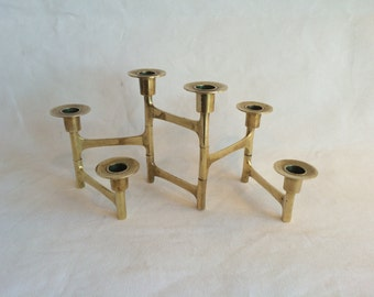 Vintage Mid Century Modern Hollywood Regency Brass Versatile Candleabrra in the style of Fritz Nagel
