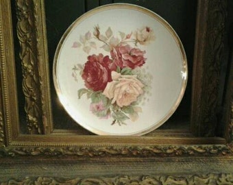 Antique Dresden China Plate with Roses