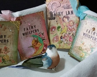 Fairy Whispers and Fairyland Tales Blank Gift Tags (Set of 4)/Beautiful Vintage Inspired Enchanted/Birthday Gift/Greeting/Blank
