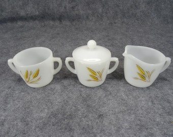 Anchor Hocking Fire King Wheat Pattern Creamer & 2 Sugar Bowl Set