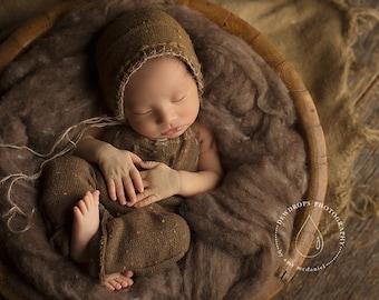 Hot Cocoa Rustic Wool Fluff - newborn photo prop - brown wool batting - basket stuffer