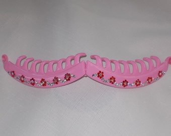 Swarovski Crystal Banana Hair Clip. 5 inches bubble gum pink surface entwined with bright pink and ab crystals.