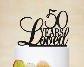 50th Birthday Cake Topper,Anniversary Cake Topper,Personalized Topper, Custom Cake Topper,Birthday Decoration -A027