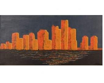 Abstract Detroit Skyline, Cityscape Painting, City Painting, Detroit Art, Original in Blue Orange Yellow Acryl, Acrylic  on Canvas 24x12