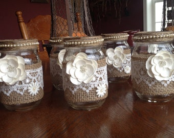 Rustic Shabby Mason Jar Wrapped with Burlap & Lace Embellished with Cream Colored Faux Flowers, Wedding, Shower, Tablescape, Gift for Mom