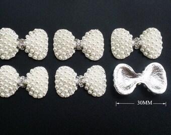 12 pcs  Rhinestone Embellishment Rhinestone Button, Wedding supply, Hair Clip Brooch Bouquet Jewelry Supplies,Flatback button ,bowknot B12