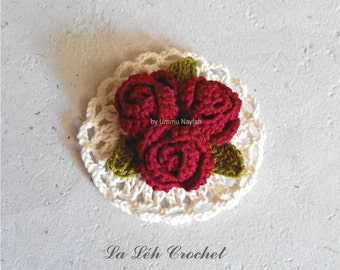 "Crochet Pattern: Digital Download ""Corsage Rose and Mini Doily""; crochet brooch, applique, accessories, pdf."