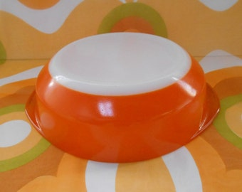 Vintage Pyrex Orange Casserole Dish  1970's  #10042