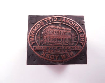 """Vintage Copper The National City Company - National City Bank Building - New York Printers Block 11/16"""" Tall x 13/16"""" Wide"""