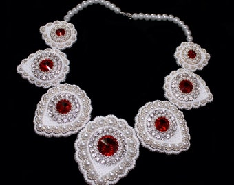 bead embroidery necklace - pearl necklace